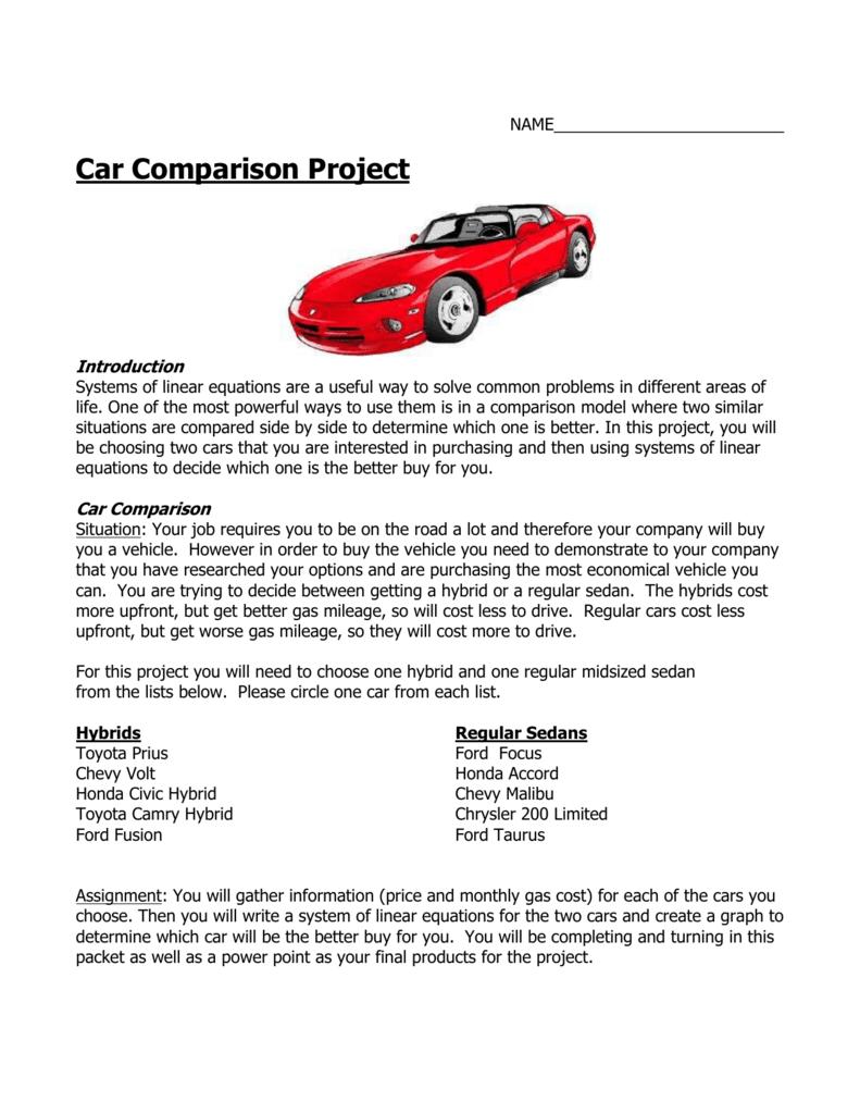 Car Comparison Project Grading Criteria