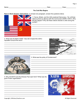 04 Worksheet The Cold War Begins