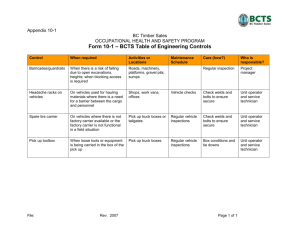 Appendix 1D Form 10-1: BCTS Table of Engineering Controls