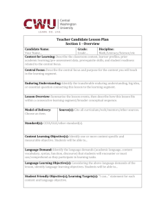 Teacher Candidate Lesson Plan Section 1