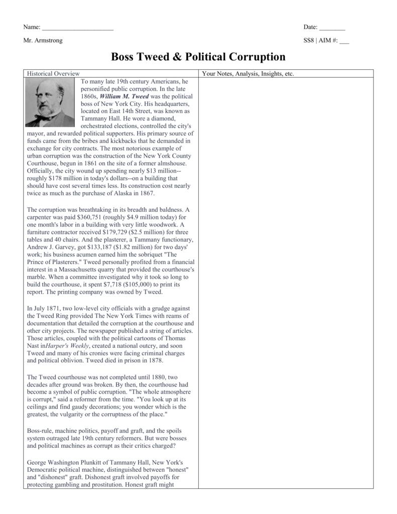 Boss Tweed Historical Overview Wksht