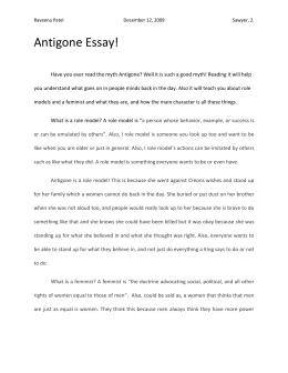 Essay  Antigone Antigone Essay