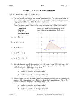 Unit 2 Transformations Geometry Honors
