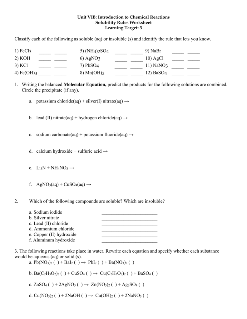 Unit Vib Solubility Rules Worksheet