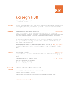 Resume - Kaleigh Ruff Middle Childhood Education Major