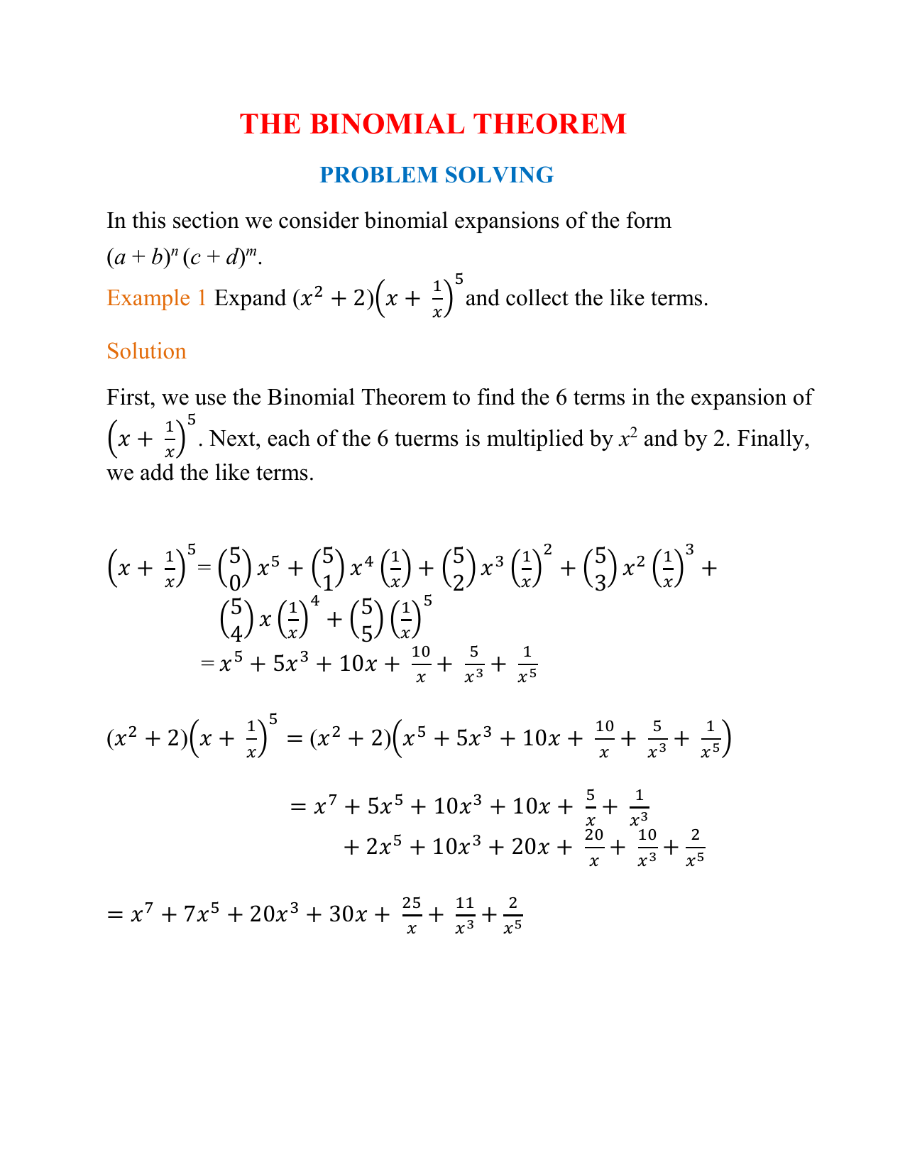 Worksheet Binomial Theorem Worksheet mdm4u the binomial theorem problem solving