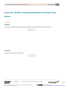 Another Computational Method of Solving a Linear
