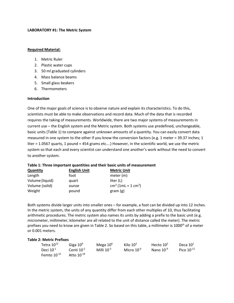 Lab 1 - Metric system answers