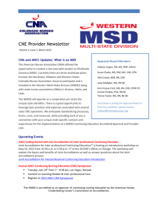 March 2015WSMD CNE Provider Newsletter