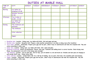 Marle Hall Duties Planner