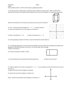Precalculus Name: HW#9 Word problem practice. Only #1 and #2