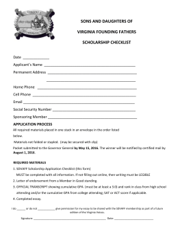 application process - Sons and Daughters of Virginia Founding