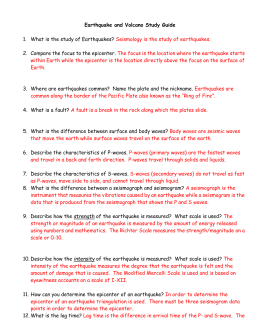 earthquake and volcano review rh studylib net 9.3 Study Guide Respiratory System Worksheet Answer Key