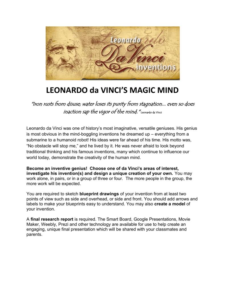 Leonardo da vincis magic mind thinking outside the box wiki malvernweather Choice Image