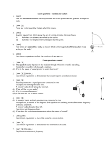 Exam questions – vectors and scalars [2003] Give the difference