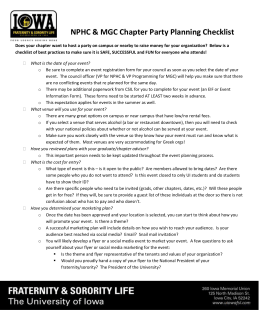 NPHC Party Planning Checklist - Iowa Fraternity & Sorority Life