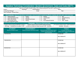 Assistive Technology Consideration: Student, Environment, Tasks