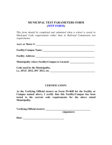 MUNICIPAL TEST PARAMETERS FORM