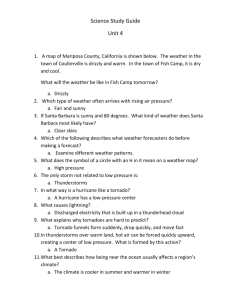 Science Study Guide Unit 4 A map of Mariposa County, California is