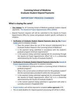 important changes to the graduate student stipend process