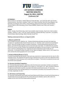 LIFE SCIENCES CORRIDOR MEETING MINUTES August 16, 2011