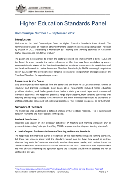 Communique Number 3 – September 2012