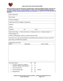 Application Form - Bench to Bassinet Program