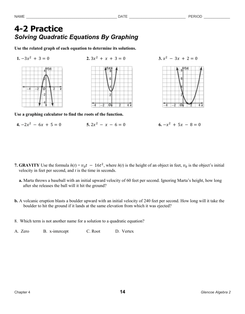 worksheet Solving Quadratic Equations By Graphing Worksheet Answers 4 2 practice hw