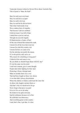 Transcript of poem written by Steven Oliver about Australia Day. Title