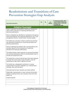 READ Gap Analysis - WHA Quality Center