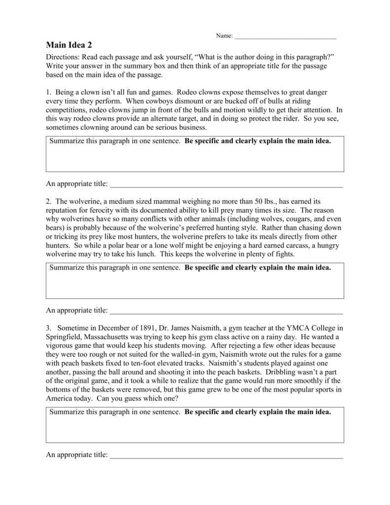 Main Idea Worksheet 2 RTF