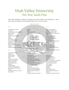 Ten Year Audit Plan - Utah Valley University