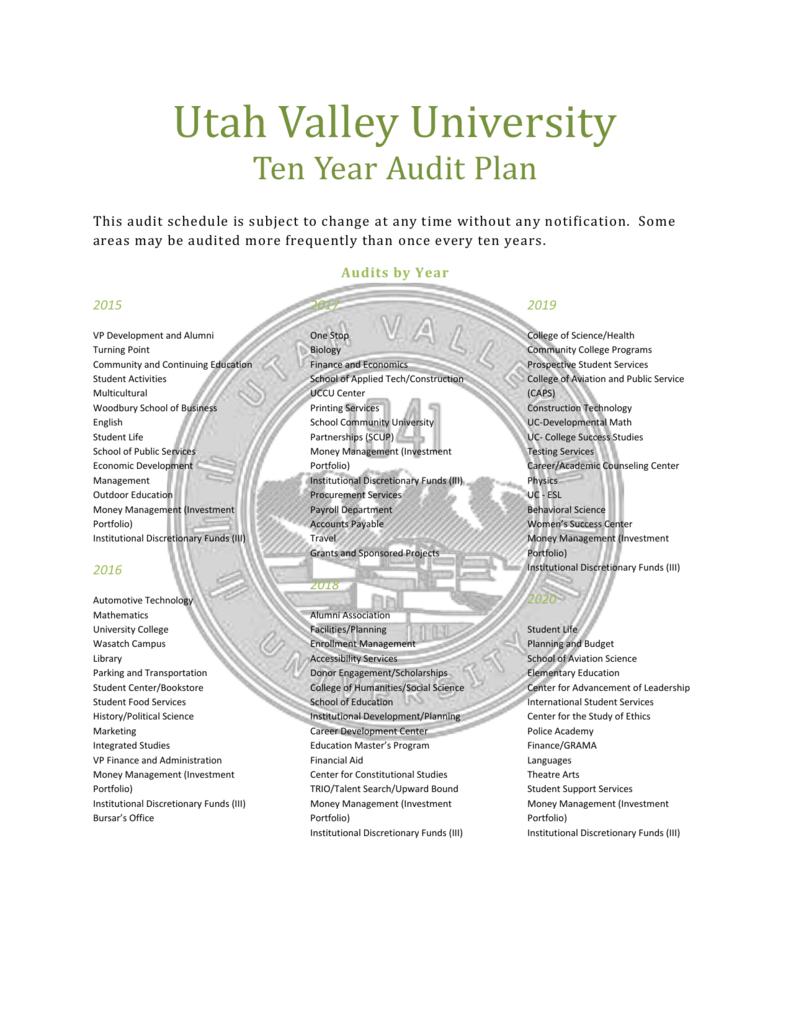 Uvu 2020 Summer Schedule.Ten Year Audit Plan Utah Valley University