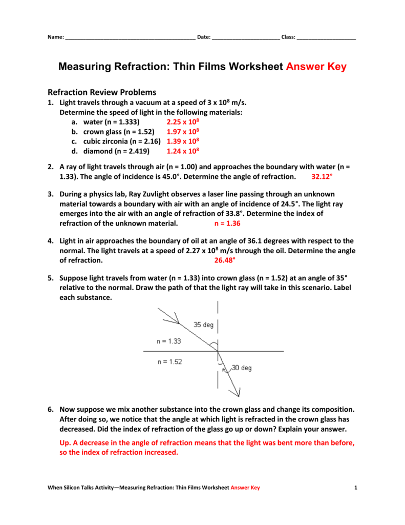 Measuring Refraction Thin Films Worksheet – Refraction Worksheet