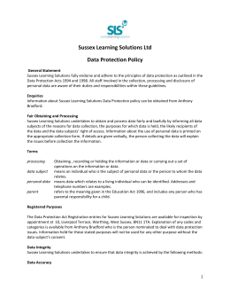 Data Protection Policy - Sussex Learning Solutions