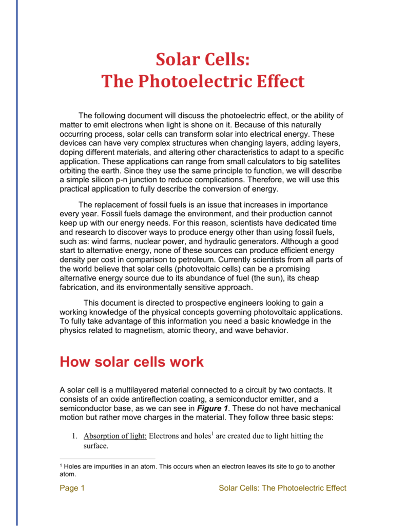 Solar Cells The Photoelectric Effect Cell Circuit
