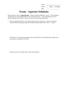 Exam - Aqueous Solutions