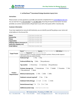 E. coli BacPowerTM Guaranteed Package Quotation Inquiry Form