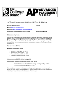 AP French Language and Culture Syllabus