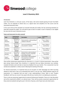 Level 2 Chemistry Student Course Information