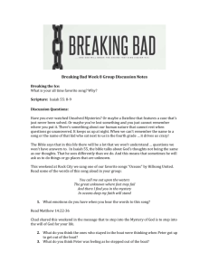 Breaking Bad Week 8 Group Discussion Notes Breaking the Ice