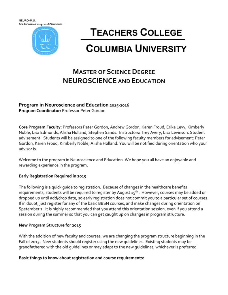 New Program Guide - Teachers College Columbia University
