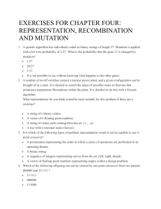 exercises for chapter four: representation, recombination and mutation