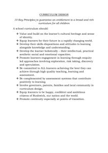 CURRICULUM DESIGN 10 Key Principles to guarantee an