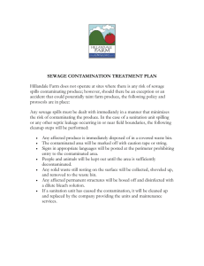 Sewage contamination treatment plan
