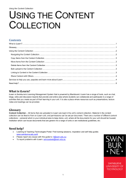 Using the Content Collection. - Swinburne University of Technology
