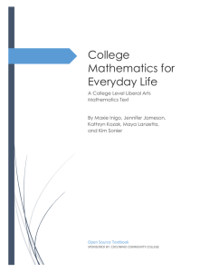 College Mathematics for Everyday Life