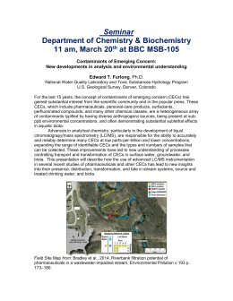 Seminar Department of Chemistry & Biochemistry 11 am, March 20