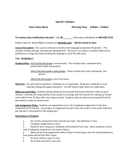 Spanish I Syllabus Peter Santa Maria Planning Time: 8:00am – 9
