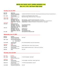 To Summer Conference 2015 one page agenda